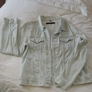 J Brand Light Blue tapered Denim Jacket sz L